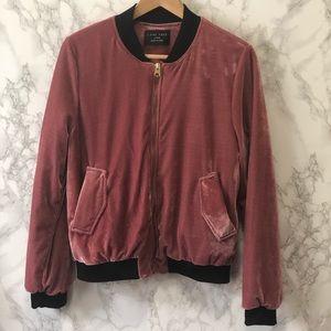 Love Tree Pink Velvet Bomber Jacket Size XL